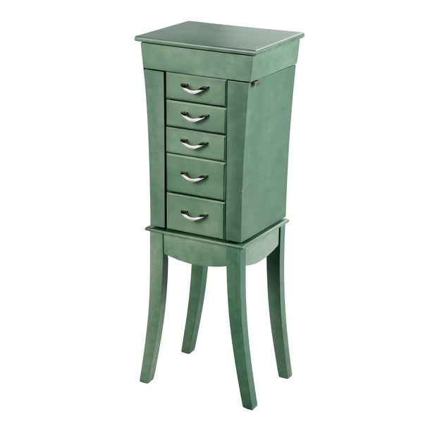 Russ160 Standalone Jewelry Armoire in Antique Sea Green