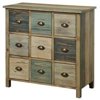 Sanibel Multicolored Pastel Wood 9-drawer Apothecary Chest
