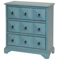 StyleCraft Regan Cabinet Collection Blue Apothecary-Style 3-Drawer Chest