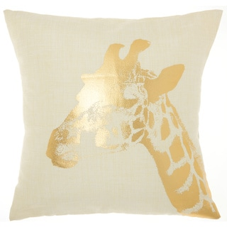 Mina Victory Luminecence Metallic Gold Giraffe Throw Pillow (18-Inch X 18-Inch)