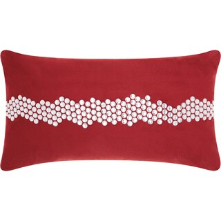 "Mina Victory Luminecence Burgundy Wavy Stones Throw Pillow (12"" x 22"")"