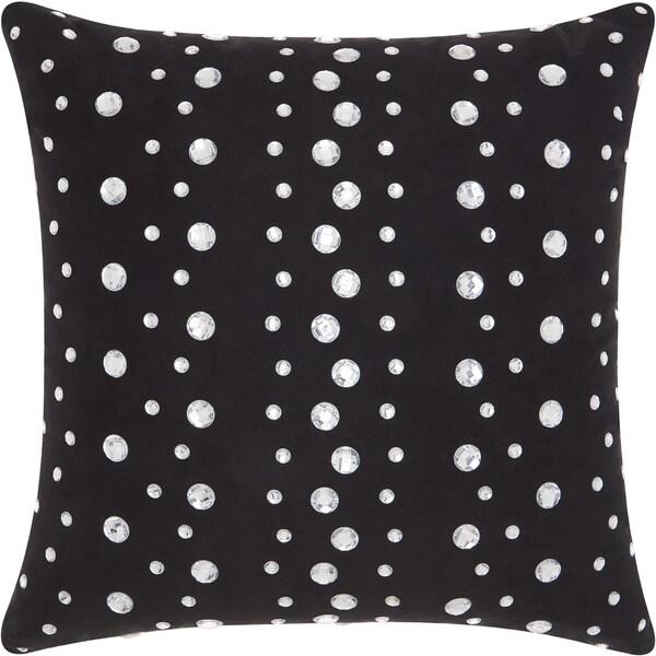 Mina Victory Luminecence Raindrops Black Throw Pillow (20-Inch X 20-Inch)
