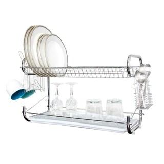 22 Inch Dish Drainer Rack 2 Layer Dish Holder Dish Rack Organizer
