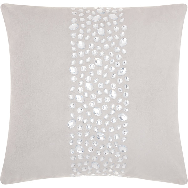 Mina Victory Luminecence Center Stones Silver Grey Throw Pillow (20-Inch X 20-Inch)