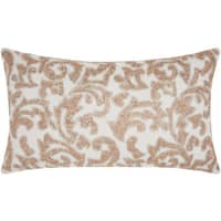 Mina Victory Luminecence Beaded Champagne Leaves Throw Pillow (12-Inch X 21-Inch)