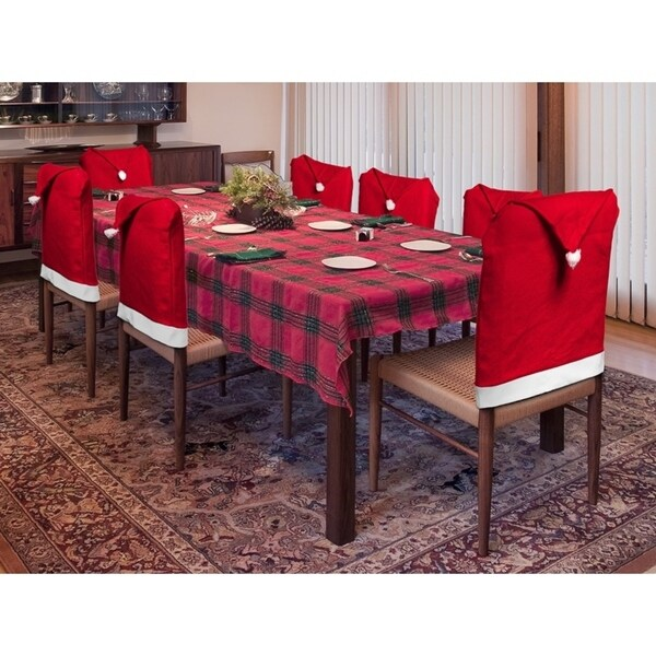 6 Pack Christmas Decoration Indoors Santa Hat Dining Room Chair Cover Set