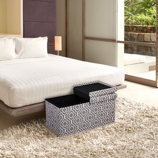 Storage Ottoman Bench 30 Inch Crown Comfort Smart Lift Top Upholstered, Moroccan Grey - Crown Comfort
