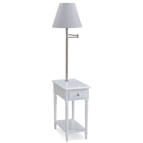 Orchid White Chairside Lamp Table with AC/USB Charger
