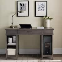 Leick Riley Grey Washed Wood Holiday Tower Desktop PC Pier Base Desk with Center Drawer