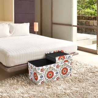 Storage Ottoman Bench 30 inch Crown Comfort Smart Lift Top Upholstered - Retro Floral