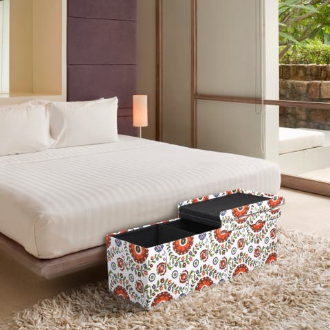 Storage Ottoman Bench 45 inch Crown Comfort Smart Lift Top Upholstered - Retro Floral