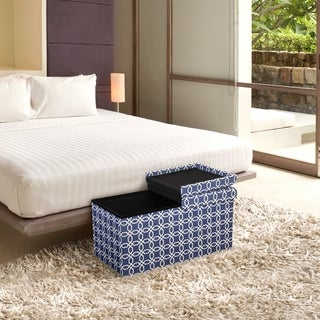 Storage Ottoman Bench 30 Inch Crown Comfort Smart Lift Top Upholstered, Octagon Blue - Crown Comfort
