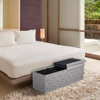 Crown Comfort 45-in Smart Lift Top Upholstered Ottoman Storage Bench - Moroccan Grey