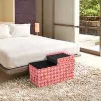 Storage Ottoman Bench 30 inch Crown Comfort Smart Lift Top Upholstered - Octagon Orange