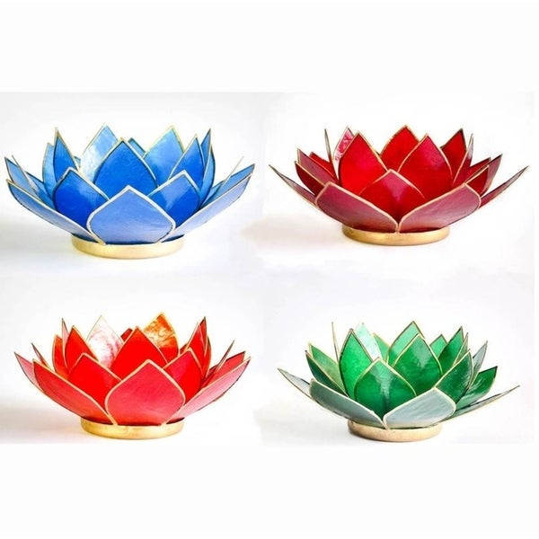 Lotus Capiz Tea Light Candle Holder in Assorted Colors (Green, Blue, Red and Orange)