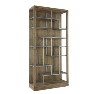 Aurelle Home Natural Wood Vertical Contemporary Display Shelf