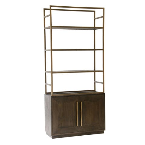 Aurelle Home Solid Oak Shelf and Cabinet Bookcase