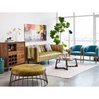 Aurelle Home Green Leather Ottoman