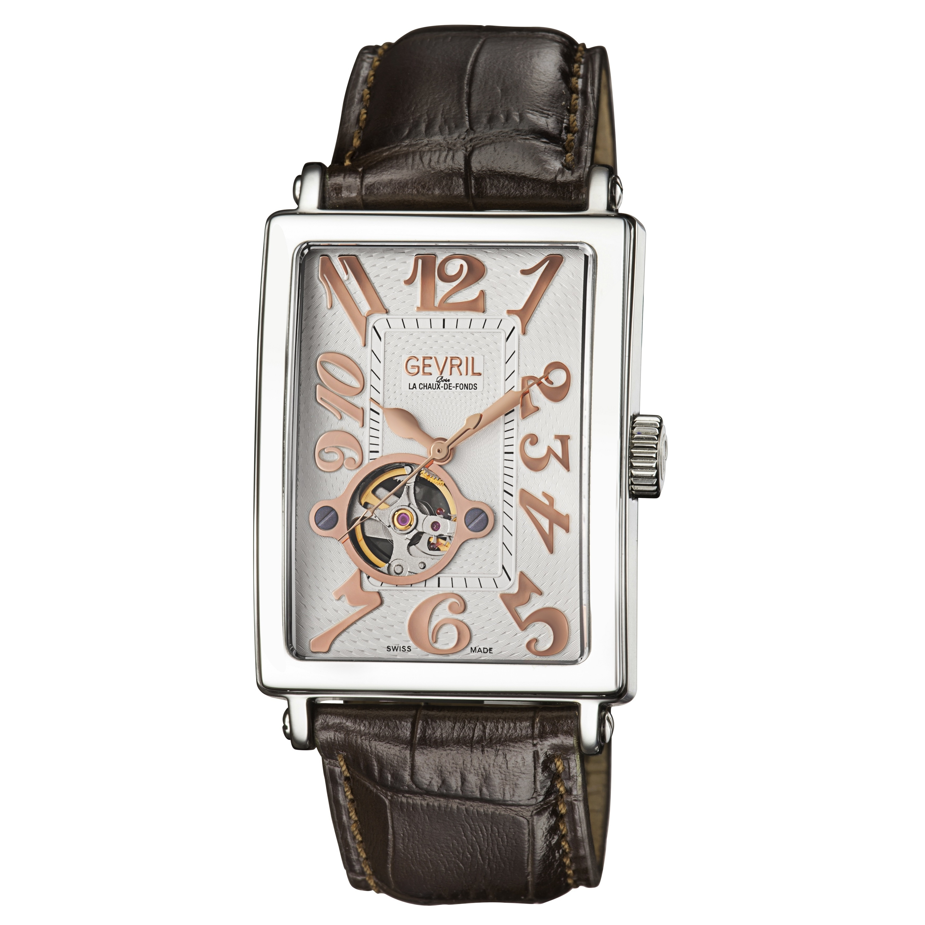 Gevril Men's Automatic Brown Leather Strap Watch (Gevril ...