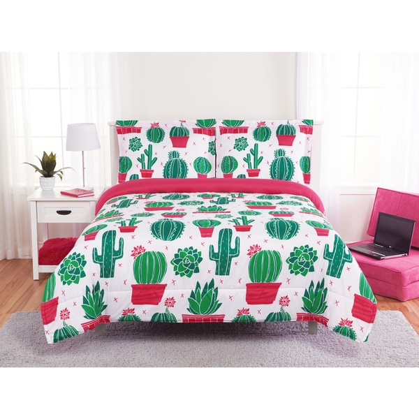 Shop Happy Cactus 3 Piece Comforter Set On Sale Free Shipping On