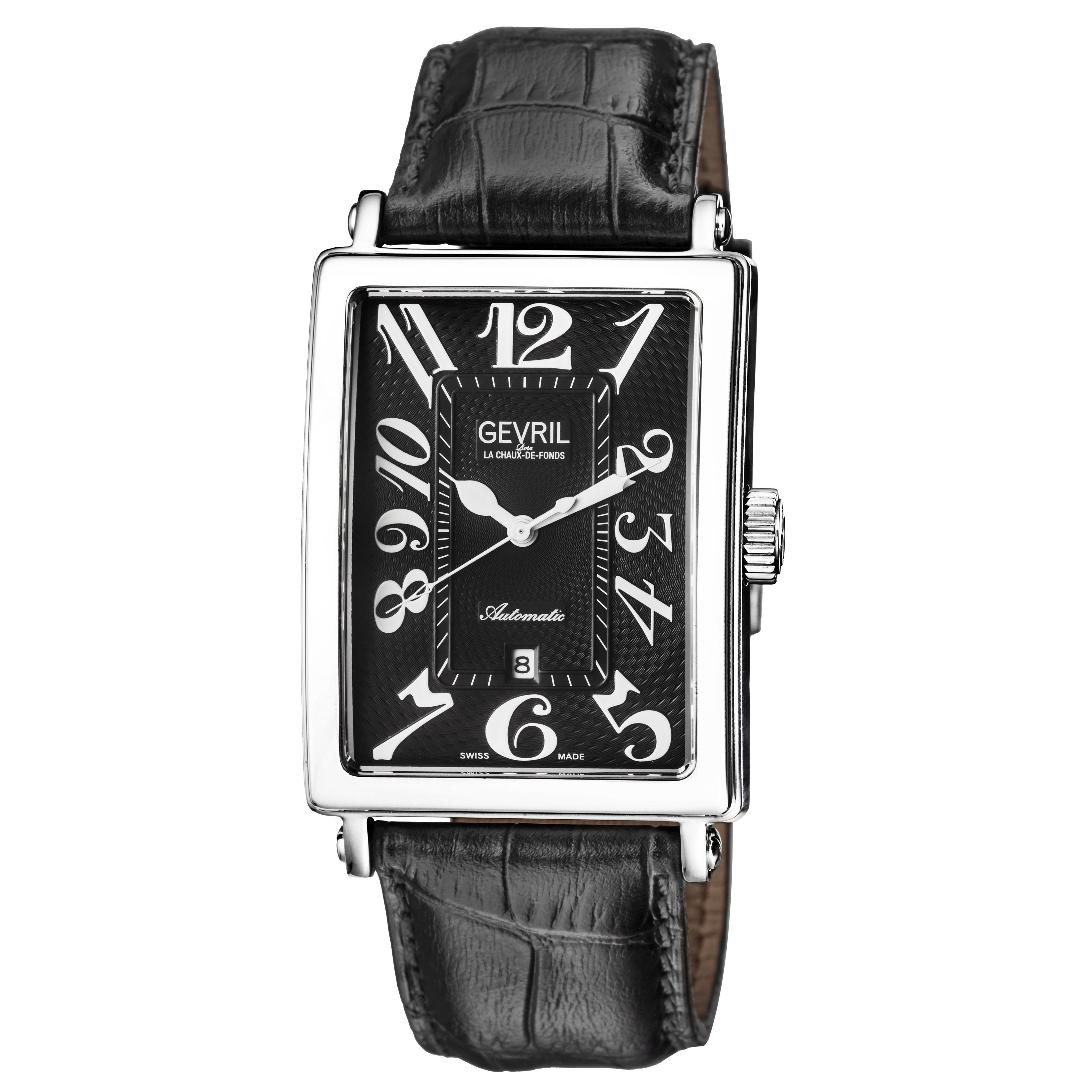 Gevril Men's Automatic Black Leather Strap Watch (Gevril ...