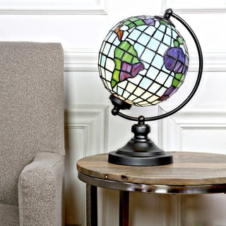 "14.9""H Tiffany Style Stained Glass Round Globe Table Lamp"
