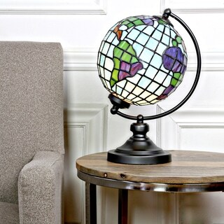 "River of Goods 14.9""H Stained Glass Round Globe Lamp"