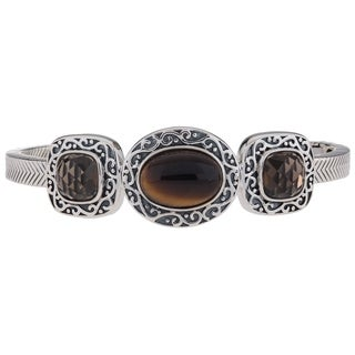 """Pangea Mines Sterling Silver Tiger Eye and Quartz 6.75"""" Cuff - White"""