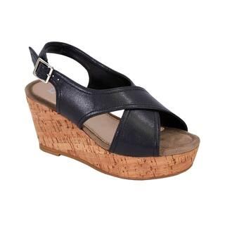 FUZZY Anya Women Extra Wide Width Platform Corkscrew Wedge Slingback Sandals