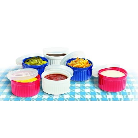 Colorful Ceramic Ramekins With Lids Custard Cups Ramekin Set of 6