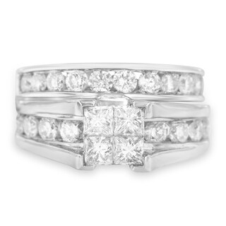 14K White Gold 3ct TDW Princess and Round Diamond Composite Engagement Ring Set (H-I,I1), Size 7
