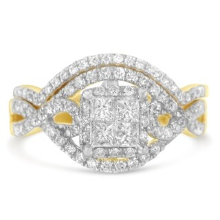 14K Yellow Gold 1.02ct TDW Princess and Round Diamond Composite Engagement Ring Set (H-I,I1), Size 7