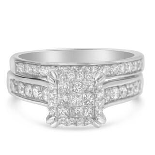 14K White Gold 1.01ct TDW Princess and Round Diamond Composite Engagement Ring Set (H-I,I1), Size 7
