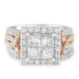 14K Two-Tone 2.76ct TDW Princess and Round Diamond Composite Engagement Ring Set (H-I,I1), Size 7