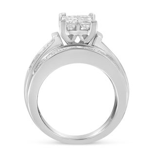 14K White Gold 2.5ct TDW Princess Princess  cut Diamond Composite Engagement Ring Set (H-I,I1), Size 7