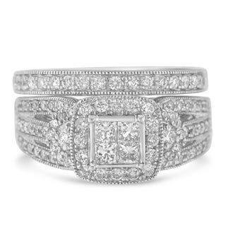 14K White Gold 1.26ct TDW Princess and Round Diamond Composite Engagement Ring Set (H-I,I1), Size 7