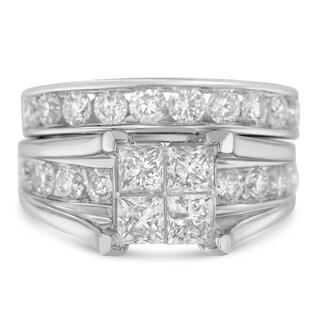 14K White Gold 4ct TDW Princess and Round Diamond Composite Engagement Ring Set (H-I,I1), Size 7