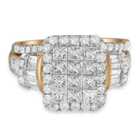 14K Rose Gold 2.75ct TDW Mix Diamond Composite Engagement Ring set (H-I,I1), Size 7