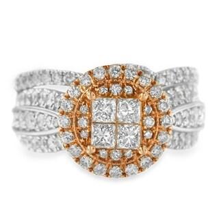 14K Two-Tone 1.68ct TDW Princess and Round Diamond Composite Engagement Ring Set (H-I,I1), Size 7