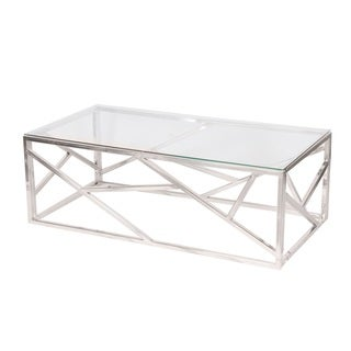 Sterling Silvertone Stainless Steel Coffee Table with Clear Glass Top