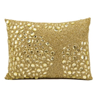 Mina Victory Luminecence Fully Beaded Light Gold Throw Pillow (13-Inch X 18-Inch)