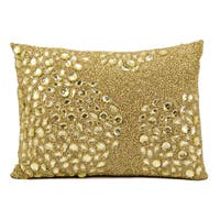 "Mina Victory Luminecence Fully Beaded Light Gold Throw Pillow  (13"" x 18"")"