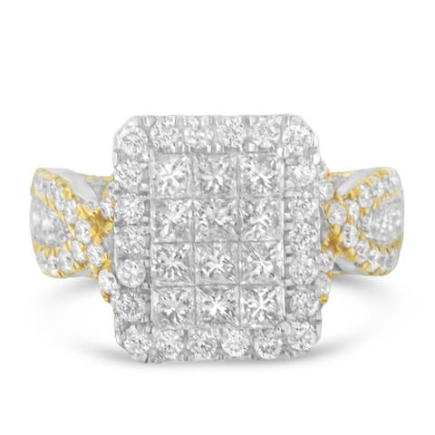 14K Two-Tone 2.47ct TDW Princess and Round Diamond Composite Ring (H-I,I1), Size 7