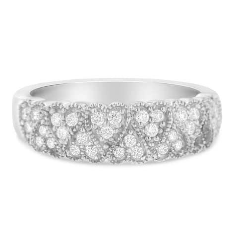 18k White Gold 0.3ct TDW Round Diamond Band Ring(G-H, VS1-VS2)
