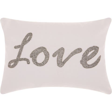 Mina Victory Luminecence Beaded Love Silver Grey Throw Pillow (14-Inch X 20-Inch)