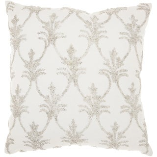 Mina Victory Luminecence Silver Fleur De Lis' Silver Throw Pillow (18-Inch X 18-Inch)