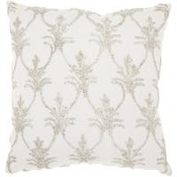 Mina Victory Luminecence Silver Fleur De Lis' Silver Throw Pillow (18-Inch X 18-Inch)