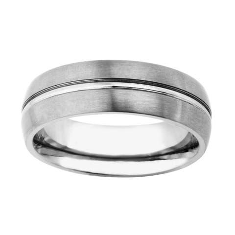 Mens 7mm Titanium Dual Finish Band - Silver
