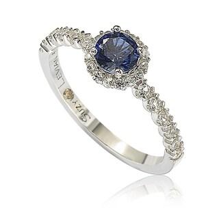 Suzy Levian Sterling Silver Sapphire (0.54cttw) & Diamond Accent Petite Bridal Ring - Blue