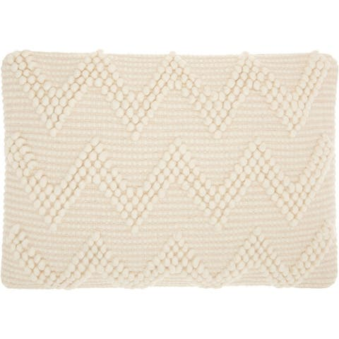 Mina Victory Life Styles Large Chevron Ivory Throw Pillow (14-Inch X 20-Inch)